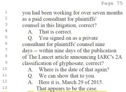 signed on as litigation consultant in week of lancet